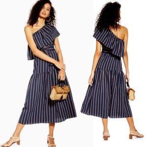 Topshop SICILY Stripe One Shoulder Midi Dress (D33